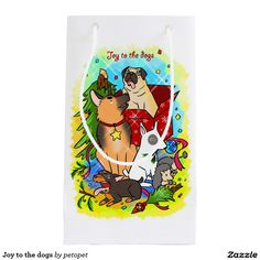 Joy to the dogs small gift bag. A cute cartoon drawing of dogs playing with Christmas ornaments. There are German shepherd dog, bull terrier dog, doberman pinscher puppy, poodle dog and a pug dog. #dogcartoon #cutepuppy #Christmasdogs #Christmaspuppy #germanshepherddog #bullterrierdog #dobermanpinscherdog #poodledog #pugdog #funnydogs