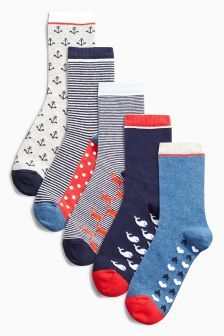 Five Pack Nautical Twist Socks
