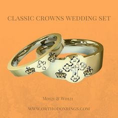 Wedding Ring Set Engraved With Orthodox Motifs And The Text Exalt Them