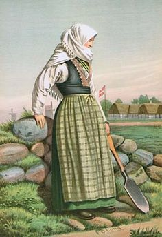 From The Green Forest: Flere folkedragter fra Danmark af Scandinavian Festival, Medieval Peasant, Danish Culture, Visit Denmark, 19th Century Fashion, Character Costumes, Folk Costume, European Fashion, Traditional Dresses