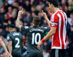 SOUTHAMPTON, ENGLAND - Sunday, March 20, 2016: Liverpool's Philippe Coutinho Correia celebrates scoring the first goal against Southampton during the FA Premier League match at St Mary's Stadium. (Pic by David Rawcliffe/Propaganda)
