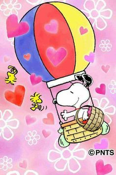 Snoopy in a Hot Air Balloon With Woodstock and Friends Flying Nearby With Hearts All Around