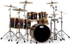 Collector's Series Satin Specialty - Cherry Black Fade over Maple with 24k Gold Hardware.. Drum sets that have a gold rim, around the whole thing is my weakness.. It's so perfect!