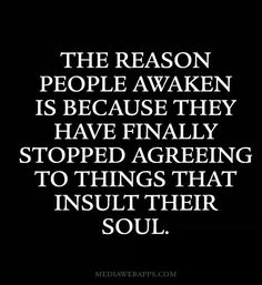 The reason people awaken is because they have finally stopped agreeing to things that insult their soul. #wisdom #affirmations #spirituality / Insight <3