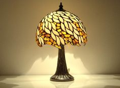 Amber Willow   Small Decorative Table Lamp, Hand Made From Natural Baltic  Amber And White Stained Glass. The Lamp Is Made Using Tiffany Technique.