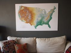 Map of the United States - Schoolhouse Electric $40 Schoolhouse Electric, United States Map, Maps, Moose Art, Homeschool, Tapestry, Deco, Tapestries, Blue Prints