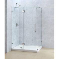 "DreamLine QuatraLux 32 1/4"" by 46 5/16"" Frameless Hinged Shower Enclosure, 3/8"" Glass Shower & Reviews   Wayfair"