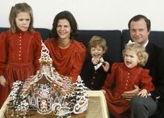 Princess Victoria, Queen Silvia, Prince Carl Philip, King Carl Gustaf and Princess Madeleine celebrating Christmas