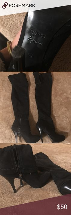 Other the Knee black Faux suede Guess Boots These are black over the knee faux black suede stiletto platform boots. They are from Guess by Marciano. Only worn 2 times. Have a great deal of life left in them since they were barely used. Also they don't sag around the calf or thigh like some other brands do. Solid quality boots! Feel free to offer ! Guess by Marciano Shoes Over the Knee Boots