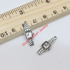200pcs Tibetan Silver Plated Watches Charms Pendants for Jewelry Making DIY Handmade 22x8mm