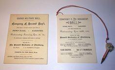 Antique Military Ball Program & Dance Card Ephemera Lot of 2 W/ Pencil Invitation Design, Invite, Invitations, Merry Widow, Military Ball, Ephemera, Pencil, Dance, Personalized Items
