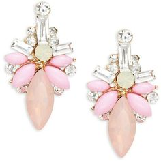 Cara Faceted Cluster Earrings (225 UYU) ❤ liked on Polyvore featuring jewelry, earrings, pink, geometric jewelry, cluster jewelry, post back earrings, facet jewelry and pink earrings
