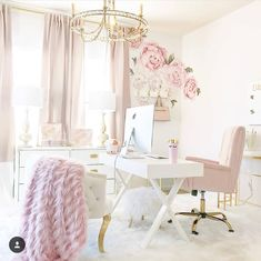 Turn your boring bland home office into a super-chic gorgeous workspace. Here are 39 ideas to inspire you. Turn your boring bland home office into a super-chic gorgeous workspace. Here are 39 ideas to inspire you. Home Office Space, Home Office Design, Home Office Decor, Office Ideas, Office Chic, Small Office, Office Designs, Feminine Office Decor, Pink Office Decor