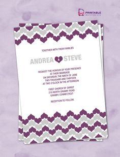 Chevron Hearts Wedding Invitation For customizations: printableinvitationkits[at]gmail[dot]com