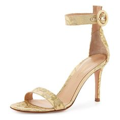 """Portofino lace ankle-strap 85mm sandal by Gianvito Rossi. Gianvito Rossi metallic lace d'Orsay sandal. 3. 3"""" covered heel; approx. 4. 3""""H cuff. Strap bands..."""