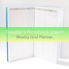 Weekly Planner -- Grid {Standard Size} Traveler's Notebook Insert Booklet // Choose Cover & Paper Colors!