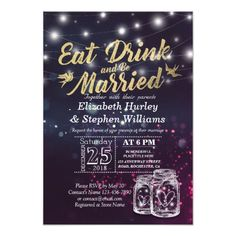 Shop Elegant EAT Drink & Be Married Wedding Invitations created by ReadyCardCard. Personalize it with photos & text or purchase as is! Mason Jar Wedding Invitations, Purple Wedding Invitations, Wedding Invitation Design, Custom Invitations, Bridal Shower Invitations, Invitation Cards, Vintage String Lights, Drink, Bokeh Lights