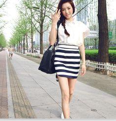 Fashion Style Stripe High Waist Skirt White&Black
