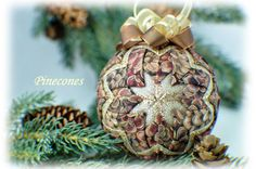 Learn to make these quilted ornaments from fabric and ribbon with NO SEWING REQUIRED! - www.patternplease.com