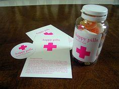 BCN: Happy Pills packaging 'fill your own prescription' bottles Prescription Bottles, Pill Bottles, Nursing School Graduation, Graduation Ideas, Kawaii Diy, Crafty Fox, 4th Birthday, Birthday Ideas, Candy Bouquet