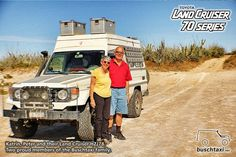 Peter and his wife and their Land Cruiser HZJ78, somewhere in Latin America. Two proud members of the Buschtaxi Family.  #buschtaxi #landcruiser #70series #hzj78 #toyota