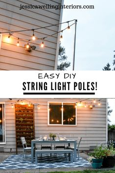 Easy DIY String Light Poles Need to light a deck patio or fire pit? Install easy and inexpensive removable string light poles! The post Easy DIY String Light Poles appeared first on Outdoor Diy. Backyard Lighting, Outdoor Lighting, Outdoor Decor, Outdoor Lantern, Outdoor Patios, Patio Lighting Ideas Diy, Outdoor Rooms, Lights In Backyard, Outdoor Deck Decorating