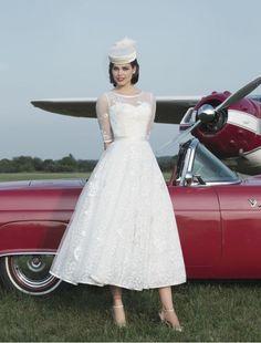 Tulle Jewel A-line Tea-length Destination Wedding Dress with Half Sleeves - Bridal Gowns - RainingBlossoms
