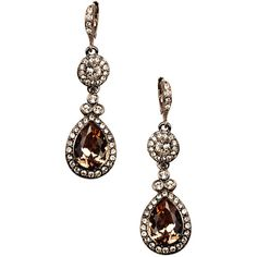 Givenchy Brown Gold Plated Crystal Drop Earrings (€45) ❤ liked on Polyvore featuring jewelry, earrings, accessories, jewelry-earrings, jewels, givenchy earrings, tear drop earrings, clear drop earrings, teardrop earrings and gold plated jewellery
