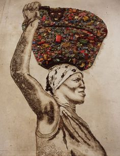 A portrait of a garbage picker from Brazil by internationally acclaimed artist Vik Muniz.