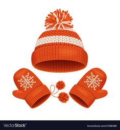 Hat and Mitten Set Winter Accessories vector image on VectorStock Paper Clothes, Winter Wallpaper, Everyday Objects, Red Hats, Illustrations And Posters, Winter Accessories, Coloring For Kids, Clipart, Paper Dolls