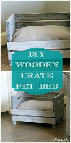 best of the web: DIY pet beds have more love, cost less money. Wooden Crate Pet Bed via Diy Pet, Diy Cat Bed, Pet Beds Diy, Diy Wooden Crate, Wooden Cat, Lit Chat Diy, Apple Crates, Animal Projects, Diy Projects