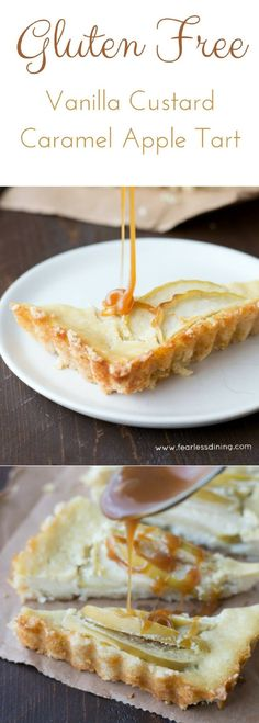 Get ready to drool over this easy to make gluten free vanilla custard filled caramel apple tart. Almond flour crust and a creamy filling make this dessert tart recipe hard to resist. via @fearlessdining