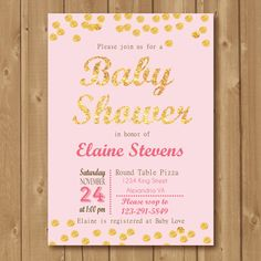 Pink and Gold Confetti Invitation  Babyshower by Alapipetuadesign