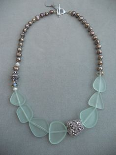 Sea Glass and Freshwater Pearls by Gretchen Schueller