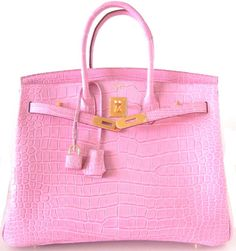 Hermes Birkin in pink and gold.