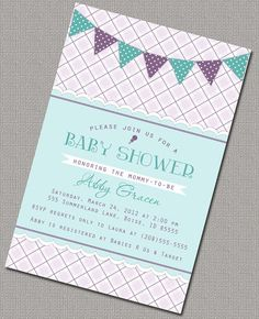 Girl Baby Shower Invitations, Lavender and Turquoise Plaid