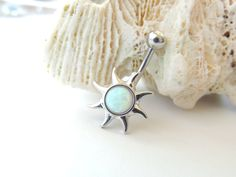 Sun Belly Button Ring White Opal Sun Belly by SeductiveBodyWorks