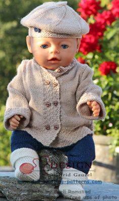 18 inch doll knitting patterns - a stylish designer suit for you doll Baby Born Clothes, Bitty Baby Clothes, Preemie Clothes, Boy Doll Clothes, Knitting Dolls Clothes, Crochet Baby Clothes, Doll Clothes Patterns, Doll Patterns, Crochet Doll Dress