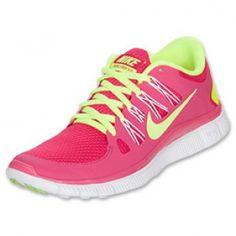 Women\u0026#39;s Nike Free 5.0+ Running Shoes Pink Force/Volt/White