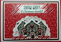 Christmas Card - made using all Stampin' Up! products including Candy Cane Lane DSP and Washi Tape, Snow Place Stamp Set, Delicate White Doily and Red Metallic Thread.