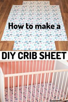 DIY crib sheet - a super easy sewing project for baby. How much fabric do you need for a crib sheet? Standard size for a crib mattress is 51 inches long by 27 inches wide by 5 inches thick. In addition, the mattress should not be thicker than Baby Sewing Projects, Sewing Projects For Beginners, Sewing For Kids, Sewing Tutorials, Free Sewing, Sewing Hacks, Sewing Tips, Sewing Basics, Hand Sewing