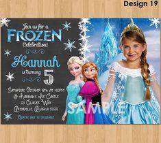 Frozen Chalkboard Invitation - Frozen Photo Invitation - Disney Frozen Birthday Invitation Party Invite Ideas Printable Elsa Anna Digital