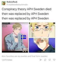 His hair is lightening because he's OLD. Or it's getting darker because the Sweden in the first episode takes place in the 21st century