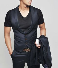 Outerwear :: Vests :: Wool Garbardine Vest From Suit 01 - Mens Fashion Clothing For An Attractive Guy Look. men's fashion and style. Fashion Mode, Mens Fashion, Fashion Outfits, Sharp Dressed Man, Well Dressed Men, Stylish Men, Men Casual, Gilet Costume, Mein Style
