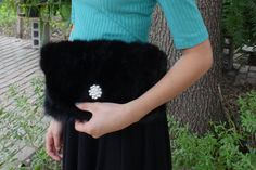 7dd823456e6e New handmade black mink clutch bag real fur by LeatherAndFurFinds Ανακύκλωση