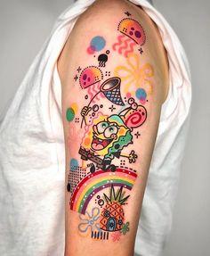 Pretty Tattoos, Love Tattoos, Beautiful Tattoos, Body Art Tattoos, Arm Tattoos, Tatoos, Divergent Tattoo, Spongebob Tattoo, Cartoon Character Tattoos