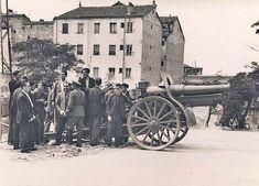 Cañón en Plaza España disparando contra el Cuartel de la Montaña - Portal Fuenterrebollo