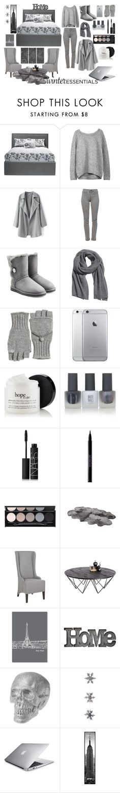 """""""Winter Esstentials"""" by ivyayala ❤ liked on Polyvore featuring J Brand, UGG Australia, H&M, Calypso St. Barth, Topshop, NARS Cosmetics, Urban Decay, Witchery, Sunpan and Americanflat"""