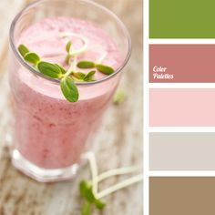 color matching, color of of strawberry cocktail, color of powdered strawberry, color scheme for the interior design, color with a strawberry milkshake, combination of colors for interior decoration, dark purple color, green, green shoots, strawberry pulp color.