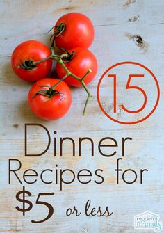 15 dinners for $5 - Recipes Included!!! Not Just Links!!!! Yum!